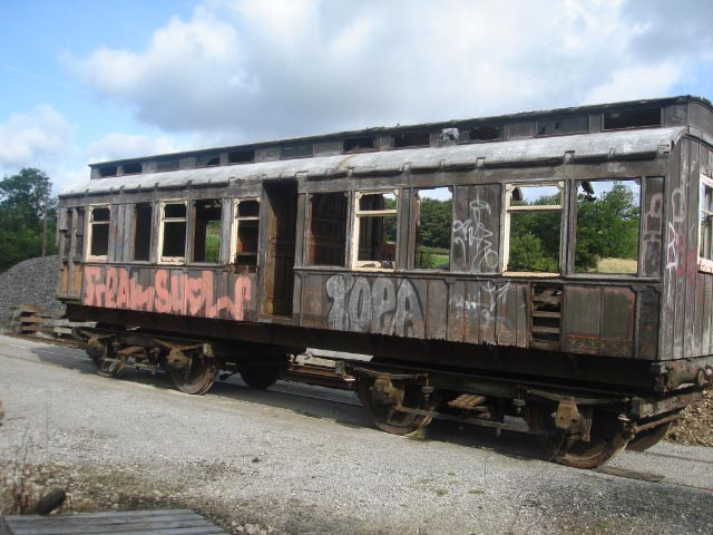 Detroit built 1882 Pullman Balmoral which has finally arrived at Embsay for restoration, 10 years after preservation.